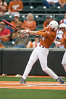 Texas 3B Erich Weiss (6) swings against Stanford on March 4th, 2011 at UFCU Disch-Falk Field in Austin, Texas.  (Photo by Andrew Woolley / Four Seam Images)