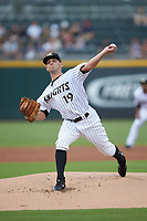 Charlotte Knights starting pitcher Kyle Kubat (19) in action against the Scranton/Wilkes-Barre RailRiders at BB&T BallPark on August 13, 2019 in Charlotte, North Carolina. The Knights defeated the RailRiders 15-1. (Brian Westerholt/Four Seam Images)