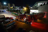 NWA Democrat-Gazette/ANDY SHUPE<br />A semi-truck and trailer prepares to leave the Fred Smith Football Center Thursday, Nov. 9, 2017, before heading out to Baton Rouge, La., ahead of the Razorbacks' game with LSU Saturday. Jerry Rico of Fayetteville and Rodney Collins of Pensacola, Fla., are employees of J.B. Hunt Transport and the work together to drive equipment necessary for the Razorbacks football team to and from games away from Fayetteville.