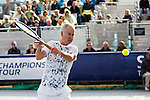 John McEnroe v Mikael Pernfors, Brodies Champions of Tennis, Edinburgh 22, June, 2013. <br />
