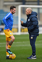 Preston manager Alex Neil gives instructions to Alan Browne during pre-match warm-up  <br /> <br /> Photographer Jon Hobley/CameraSport<br /> <br /> The EFL Sky Bet Championship - Millwall v Preston North End - Saturday 13th January 2018 - The Den - London<br /> <br /> World Copyright &copy; 2018 CameraSport. All rights reserved. 43 Linden Ave. Countesthorpe. Leicester. England. LE8 5PG - Tel: +44 (0) 116 277 4147 - admin@camerasport.com - www.camerasport.com