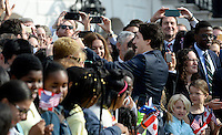 Prime Minister Justin Trudeau of Canada shakes hands with guests during an Official Arrival ceremony a the White House, March 10, 2016 in Washington, D.C. Photo Credit: Olivier Douliery/CNP/AdMedia
