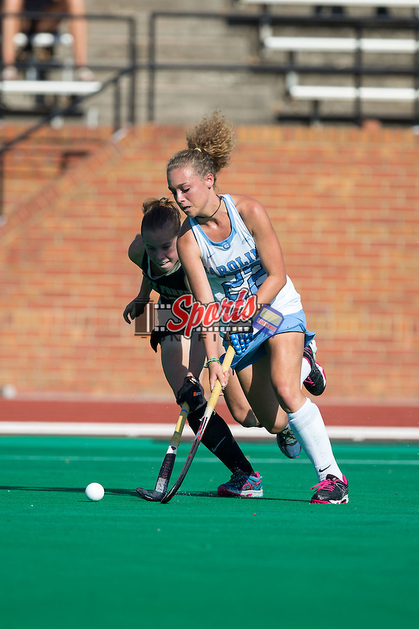 Eva van't Hoog (22) of the North Carolina Tar Heels works to keep the ball away from Megan Anderson (23) of the Wake Forest Demon Deacons during first half action at Kentner Stadium on October 23, 2015 in Winston-Salem, North Carolina.  The Demon Deacons defeated the Tar Heels 3-2.  (Brian Westerholt/Sports On Film)