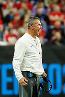 Ohio State Buckeyes head coach Urban Meyer reacts after a holding call on the Buckeyes during the second quarter of the Big Ten Conference Football Championship between the Ohio State Buckeyes and the Northwestern Wildcats on Saturday, December 1, 2018 at Lucas Oil Stadium in Indianapolis, Indiana. [Joshua A. Bickel/Dispatch]