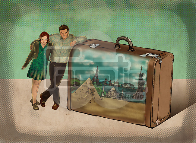 Illustrative image of couple leaning on briefcase representing traveling