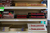 Toblerone chocolate are seen in a Metro grocery store in Quebec city March 4, 2009. Toblerone is a chocolate bar made by Kraft Foods Switzerland
