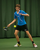 Rotterdam, The Netherlands, 15.03.2014. NOJK 14 and 18 years ,National Indoor Juniors Championships of 2014, Jasper Baggerman (NED) <br /> Photo:Tennisimages/Henk Koster