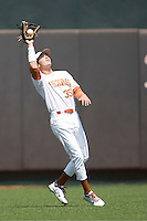 Outfielder Paul Montalbano #35 of the Texas Longhorns makes a catch against Texas Tech on April 17, 2011 at UFCU Disch-Falk Field in Austin, Texas. (Photo by Andrew Woolley / Four Seam Images)