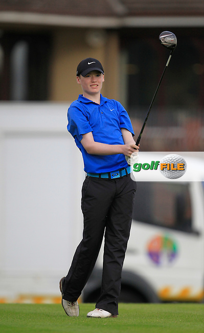 Joseph Rafferty (Castle Hume) on the 1st tee during the Irish Boys Under 15 Amateur Open Championship Round 2 at the West Waterford Golf Club on Wednesday 21st August 2013 <br /> Picture:  Thos Caffrey/ www.golffile.ie