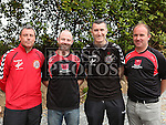 Bohemians Manager Keith Long and Captain Jason Byrne with Rossin Captain Damien O'Brien and Manager Niall Taaffe after Rossin Rovers V Bohemians.  Rossin were the winning team.<br /> <br /> <br /> Photo: Jenny Matthews