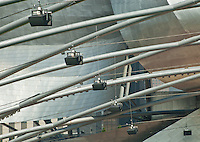 Speakers hang from the framework of the Pritzker Pavillion in Chicago's Millennium Park.