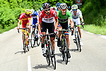 The breakaway group featuring Thomas De Gendt (BEL) Lotto-Soudal, Maillot Vert Daryl Impey (RSA) Mitchelton-Scott and Spanish National Champion Jes&uacute;s Herrada (ESP) Cofidis, during Stage 4 of the 2018 Criterium du Dauphine 2018 running 181km from Chazey sur Ain to Lans en Vercors, France. 7th June 2018.<br /> Picture: ASO/Alex Broadway | Cyclefile<br /> <br /> <br /> All photos usage must carry mandatory copyright credit (&copy; Cyclefile | ASO/Alex Broadway)