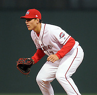April 3, 2008: Infielder Anthony Rizzo (7) of the Greenville Drive, Class A affiliate of the Boston Red Sox, during the season opener against the Kannapolis Intimidators at Fluor Field at the West End in Greenville, S.C. Photo by:  Tom Priddy/Four Seam Images