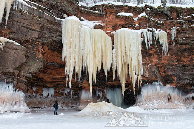 Ice Formations along the cliffs at the Apostle Islands Ice Caves.