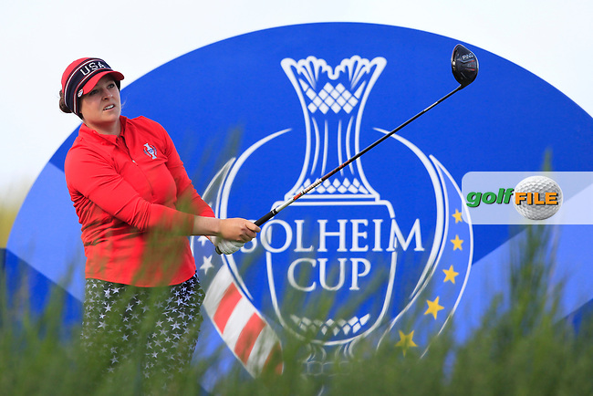 Ally McDonald Team USA on the 8th tee during Day 1 Fourball at the Solheim Cup 2019, Gleneagles Golf CLub, Auchterarder, Perthshire, Scotland. 13/09/2019.<br /> Picture Thos Caffrey / Golffile.ie<br /> <br /> All photo usage must carry mandatory copyright credit (© Golffile | Thos Caffrey)