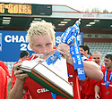 Mark Roberts of Stevenage Borough kisses the Championship trophy after the Blue Square Premier match between Stevenage Borough and York City at the Lamex Stadium, Broadhall Way, Stevenage on Saturday 24th April, 2010..© Kevin Coleman 2010 ..