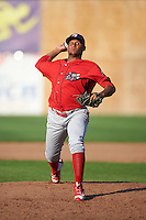 Williamsport Crosscutters relief pitcher Carlos Indriago (45) delivers a pitch during a game against the Auburn Doubledays on June 26, 2016 at Falcon Park in Auburn, New York.  Auburn defeated Williamsport 3-1.  (Mike Janes/Four Seam Images)
