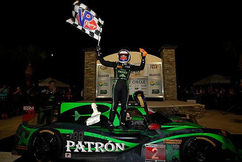 16-19 March, 2016, Sebring, Florida, USA<br /> Winner , 2, Honda HPD, Ligier JS P2, P, Luis Felipe Derani celebrates in victory lane<br /> ©2016, Michael L. Levitt<br /> LAT Photo USA