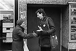 Peter Tatchell electioneering south London 1983. UK.Bermondsey by-election