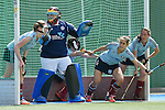 Mannheim, Germany, April 26: During the 1. Bundesliga Damen match between Mannheimer HC (red) and Uhlenhorster HC (light blue) on April 26, 2015 at Mannheimer HC in Mannheim, Germany. Final score 1-2 (0-2). (Photo by Dirk Markgraf / www.265-images.com) *** Local caption ***