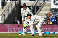 BJ Watling fields the with with Ross Taylor of the Black Caps during Day 3 of the Second International Cricket Test match, New Zealand V England, Hagley Oval, Christchurch, New Zealand, 1st April 2018.Copyright photo: John Davidson / www.photosport.nz