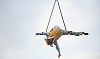 Pictured: Saturday 17 September 2016<br /> Re: Roald Dahl's City of the Unexpected has transformed Cardiff City Centre into a landmark celebration of Wales' foremost storyteller, Roald Dahl, in the year which celebrates his centenary.<br /> Mr Fox performs his fantastic acrobatics outside Cardiff Castle.