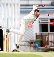 Joel Gregory bowls for Hornsey during the Middlesex County Cricket League Division Three game between Harrow Town and Hornsey at Rayners Lane on Sat 4 July, 2009.