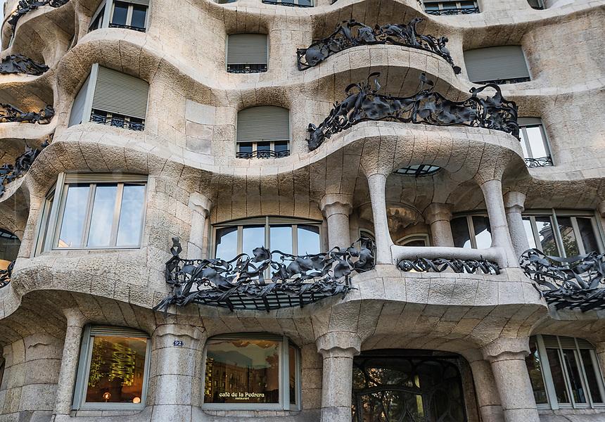 Cafe de la Pedrera, Casa Milà house designed by Antonio Gaudi, Barcelona, Spain.