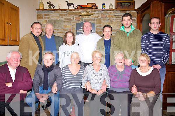The Dunn Family reunion at Purcell's bar Ballyduff on Saturday night, front l-r  Ernie Murray, Philip Dunne, Rita O'Driscoll. Kathleen Murray, Cora Dunne and Nell Murphy.  Back l-r Jimmy Sullivan, Billy Dunne, Barbara Dunne, Christy O'Driscoll,Gerard Dunn, Caomha?n O?Luaon and Jo Murphy.   Copyright Kerry's Eye 2008