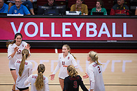 STANFORD, CA - November 15, 2017: Audriana Fitzmorris, Jenna Gray, Morgan Hentz, Meghan McClure, Kathryn Plummer, Kate Formico at Maples Pavilion. The Stanford Cardinal defeated USC 3-0 to claim the Pac-12 conference title.