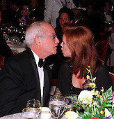 Richard Dreyfuss kisses his fiance, Janelle Lacey, as their engagement was announced at a gala for Seeds of Peace in honor of Secretary of State Madeleine Albright on New York, New York on April 26, 1998.  Seeds of Peace brings Arab and Israeli teens to a summer camp in the United States where they learn to co-exist peacefully with one another..Credit: Ron Sachs / CNP