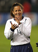 Joy Fawcett claps during the pre-game intoductions before her last soccer match at the Home Depot Center in Carson, Calif., Tuesday, Dec., 7, 2004.
