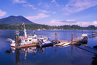 Whale Watching Boats docked in Harbour, Ucluelet, BC, Vancouver Island, British Columbia, Canada - First Nations Village of Ittatsoo in background
