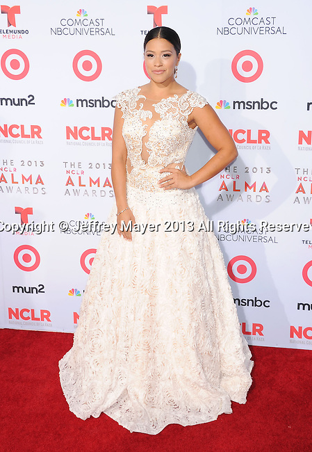 PASADENA, CA- SEPTEMBER 27: Actress Gina Rodriguez arrives at the 2013 NCLA ALMA Awards at Pasadena Civic Auditorium on September 27, 2013 in Pasadena, California.