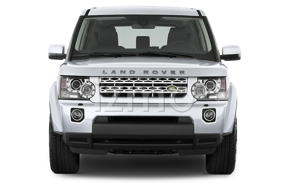 Car photography straight front view of a 2014 Land Rover LR4 Base 5 Door SUV Front View
