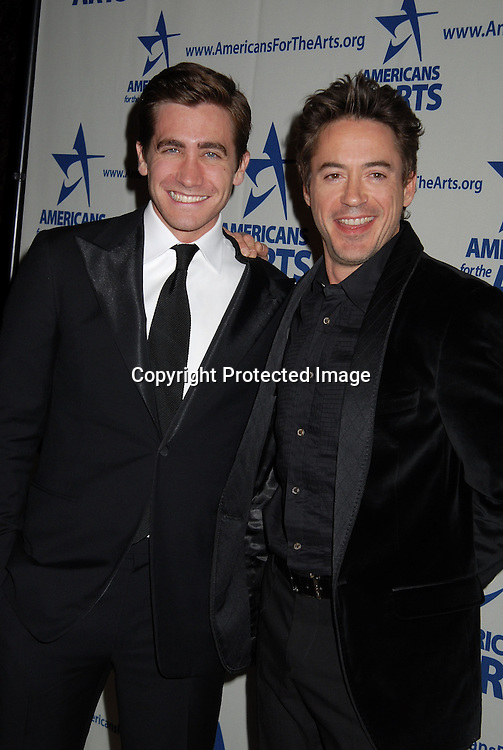 Jake Gyllenhaal and Robert Downey, Jr..at The Americans for the Arts National Arts Awards on ..Monday October 16, 2006 at Cipriani 42nd Street. ..Jake Gyllenhaal, Aretha Franklin, Kitty Carlisle Hart and ..Jeff Koons were honored. ..Robin Platzer, Twin Images