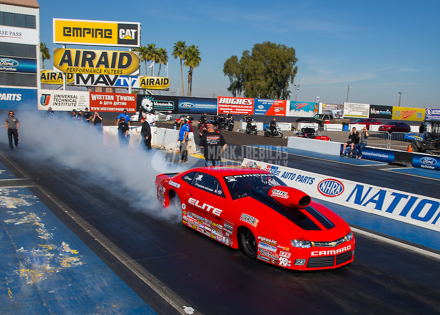 Feb 3, 2015; Chandler, AZ, USA; NHRA pro stock driver Erica Enders-Stevens during testing at Wild Horse Motorsports Park. Mandatory Credit: Mark J. Rebilas-USA TODAY Sports