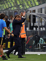 Calcio, Serie A: Inter Milano - Lecce, Giuseppe Meazza stadium, September 26 agosto 2019.<br /> Inter's coach Antonio Conte celebrates after winning 4-0 the Italian Serie A football match between Inter and Lecce at Giuseppe Meazza (San Siro) stadium, September August 26,, 2019.<br /> UPDATE IMAGES PRESS/Isabella Bonotto