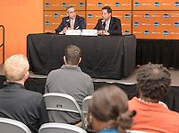 Houston Texas - NWSL Commissioner Jeff Plush (left) and Chris Canetti, President of the Houston Dash announce that BBVA Compass Stadium will host the 2016 NWSL Championships in October at a press conference prior to Houston's game with the Chicago Red Stars on Saturday, April 16, 2016 at BBVA Compass Stadium in Houston Texas.  The Houston Dash defeated the Chicago Red Stars 3-1.