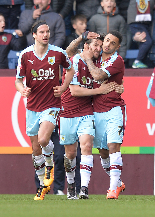 Burnley's Andre Gray celebrates with Joey Barton after scoring his team's first goal<br /> <br /> Photographer Dave Howarth/CameraSport<br /> <br /> Football - The Football League Sky Bet Championship - Burnley v Blackburn Rovers  - Saturday 5th March 2016 - Turf Moor - Burnley <br /> <br /> &copy; CameraSport - 43 Linden Ave. Countesthorpe. Leicester. England. LE8 5PG - Tel: +44 (0) 116 277 4147 - admin@camerasport.com - www.camerasport.com