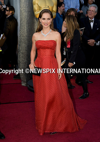 """OSCARS 2012 - NATALIE PORTMAN.84th Academy Awards arrivals, Kodak Theatre, Hollywood, Los Angeles_26/02/2012.Mandatory Photo Credit: ©Dias/Newspix International..**ALL FEES PAYABLE TO: """"NEWSPIX INTERNATIONAL""""**..PHOTO CREDIT MANDATORY!!: NEWSPIX INTERNATIONAL(Failure to credit will incur a surcharge of 100% of reproduction fees)..IMMEDIATE CONFIRMATION OF USAGE REQUIRED:.Newspix International, 31 Chinnery Hill, Bishop's Stortford, ENGLAND CM23 3PS.Tel:+441279 324672  ; Fax: +441279656877.Mobile:  0777568 1153.e-mail: info@newspixinternational.co.uk"""