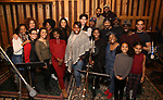 The cast from the Broadway revival of 'Once on This Island' in the recording studio for the new Broadway cast recording with Broadway Records at Power Station on December 21, 2017 in New York City.