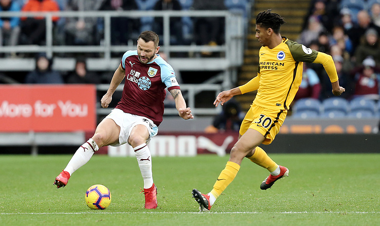 Burnley's Phillip Bardsley under pressure from  Brighton & Hove Albion's Bernardo<br /> <br /> Photographer Rich Linley/CameraSport<br /> <br /> The Premier League - Burnley v Brighton and Hove Albion - Saturday 8th December 2018 - Turf Moor - Burnley<br /> <br /> World Copyright © 2018 CameraSport. All rights reserved. 43 Linden Ave. Countesthorpe. Leicester. England. LE8 5PG - Tel: +44 (0) 116 277 4147 - admin@camerasport.com - www.camerasport.com