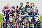 Killarney Cycling club members at the Youth Cycling County initiative in Killorglin on Thursday front row l-r: Ailbhe and Tara Russell-Kissane, Saidbh Murphy, Sarah McGrath. Middle row: Stefan Caulfield-Drier, Oisin O'connor, Fergal Murphy Lorcan Daly Ciara McGowan, back row: Mark Murphy, Eoin Blake, Stephen daly, Mike Kissane and Pauline Russell Youth Cycling County initiative