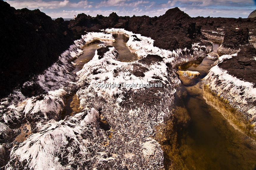A drying pool on the western side of Flores island. The weeds and algae burned by the hot sun have turned white