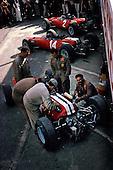 Ferraris in pit at 1965 USGP at Watkins Glen
