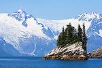 Small Island on Northwestern Fjord, Glacier background