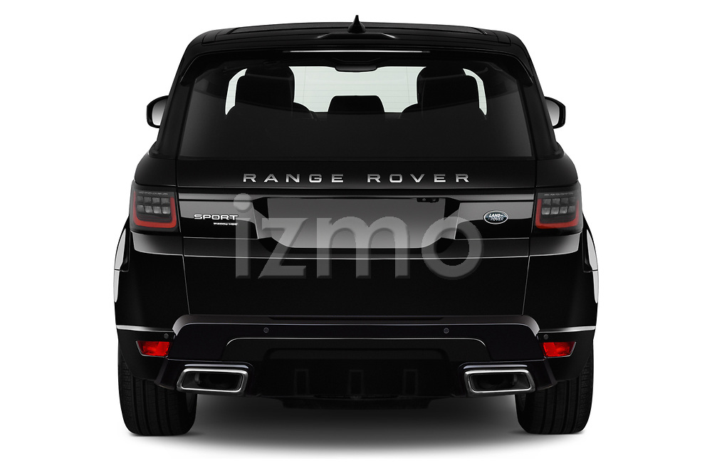 Straight rear view of a 2018 Land Rover Range Rover Sport HSE Dynamic 5 Door SUV stock images