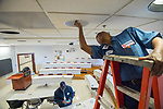 Gwen Hutchins and Sammy McEwan of Facilities Management get some general maintenance done while the classrooms are empty.   Photo by Kevin Bain/University Communications Photography