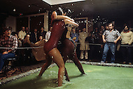San Diego area, CA. February 1982. Women jello wrestling in a night club, this kind of show were very popular at that time as well as women mud wrestling.